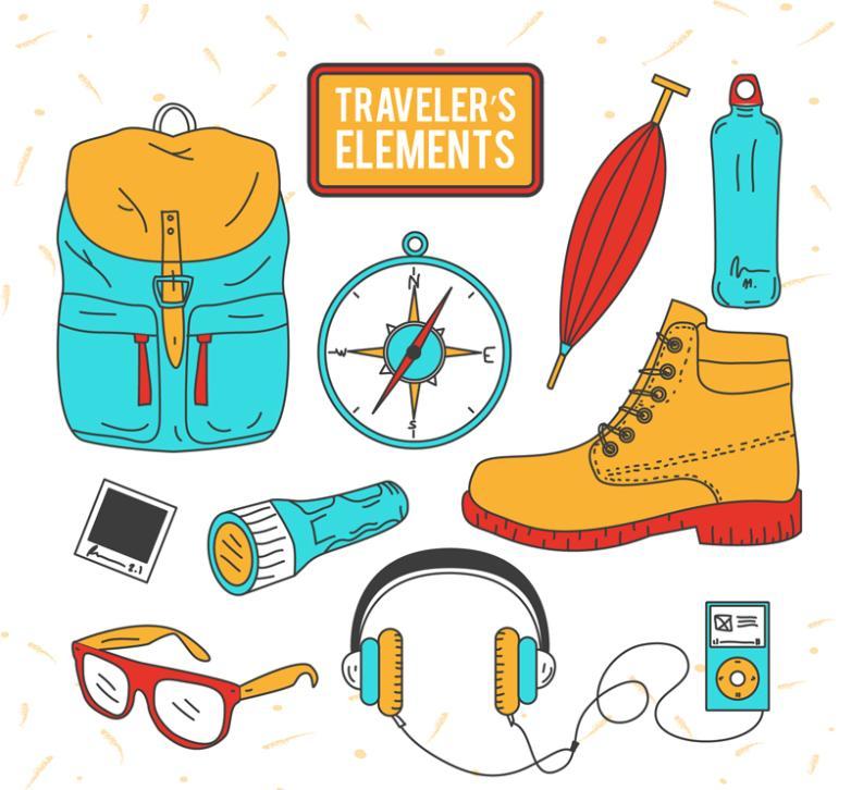 10 Hand-painted Travelers Essentials Vector