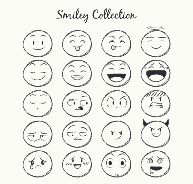 20 Hand-drawn Pencil Round Face Expression Vector