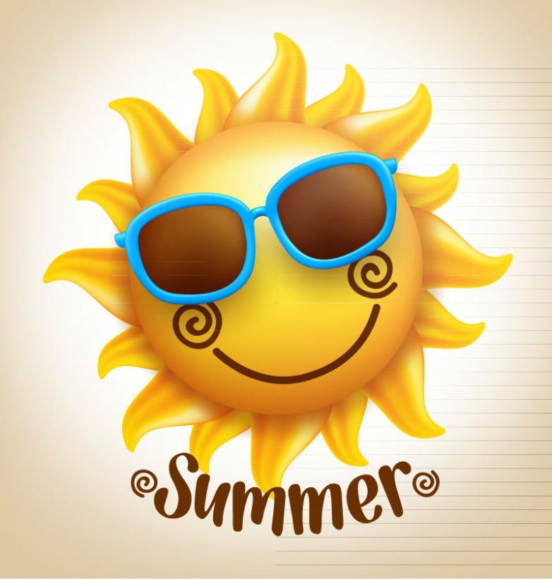 Wearing Sunglasses Smiling Face Of The Sun Vector