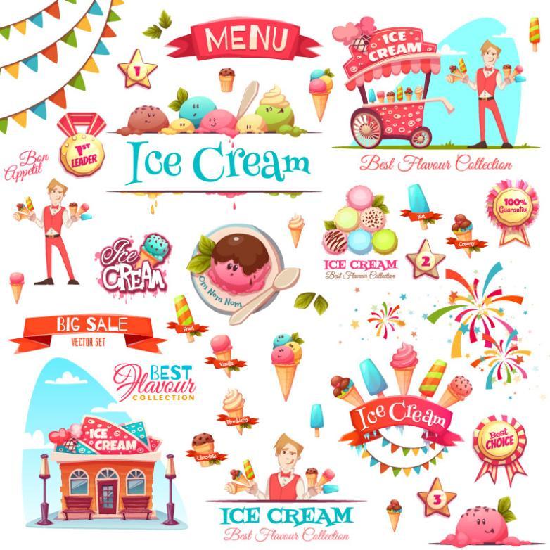 31 Cartoon Ice Cream Sales Elements Vector