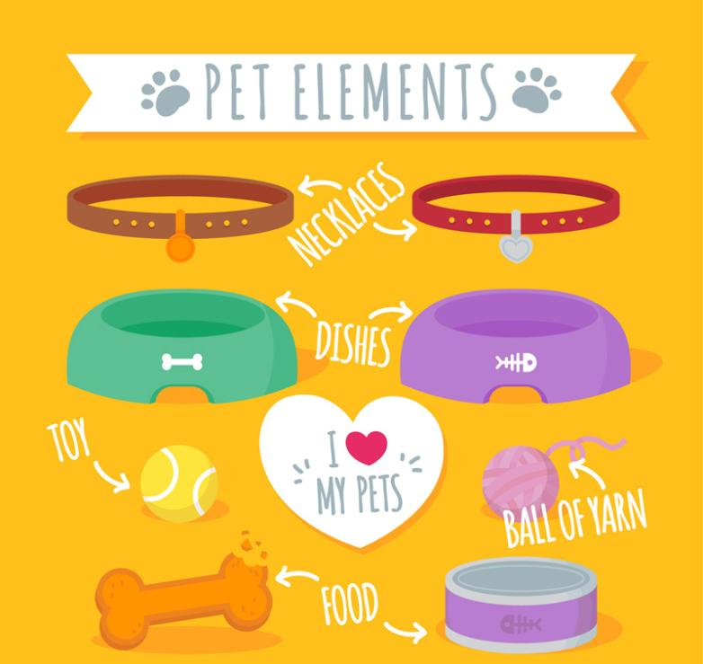 Nine Nice Pet Dog And Cat Products Vector