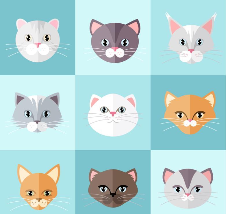 Nine New Flat Cat Head Vector