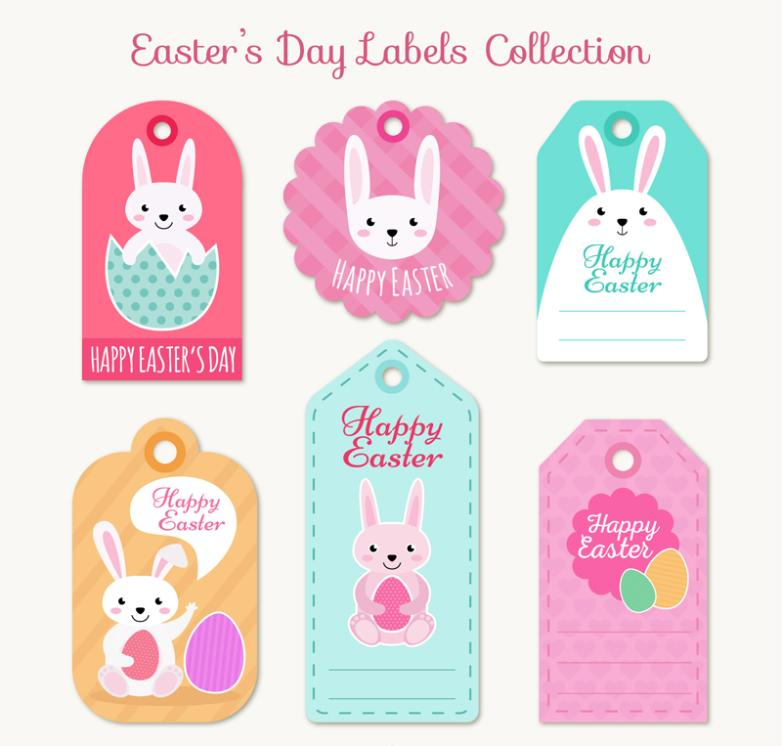 6 The Easter Bunny Tags Vector