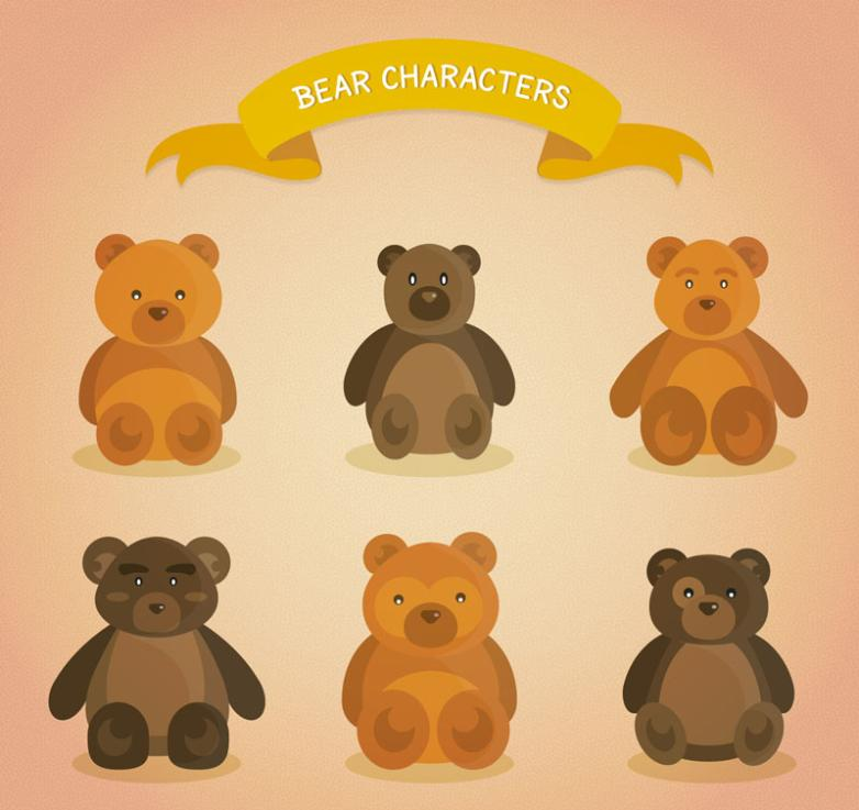Six Cute Teddy Bear Vector