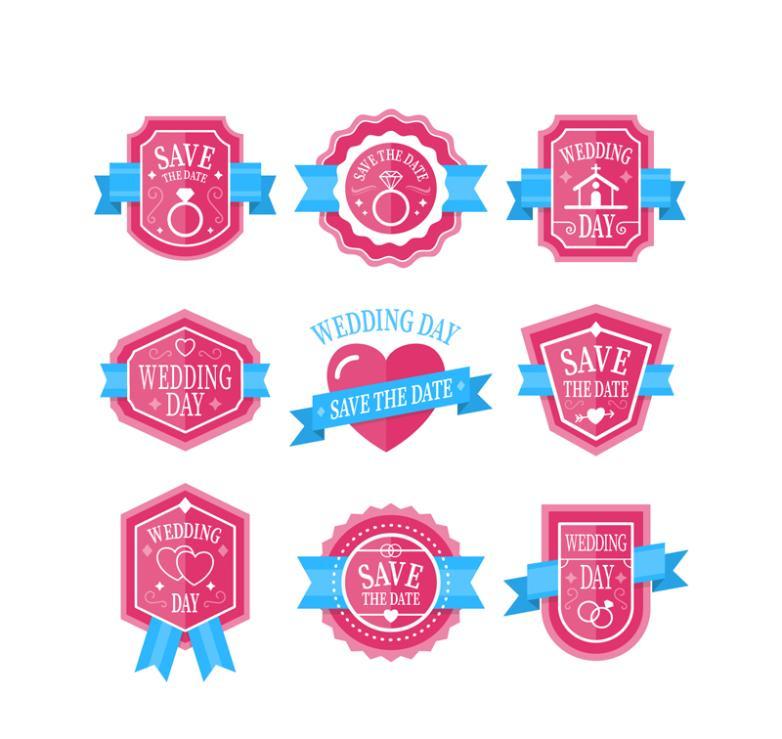 9 Pink Wedding Tags Vector