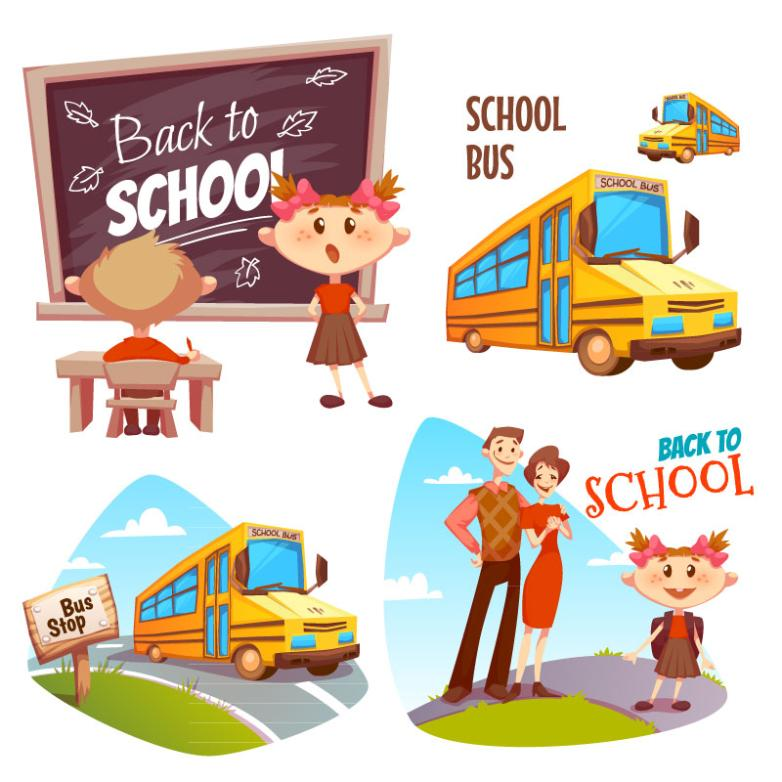 4 Creative School Bus Back To School Children And Illustrations Vector