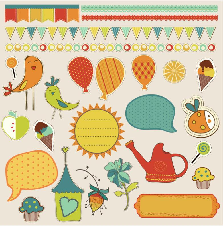 26 Creative Scrapbook Elements Vector