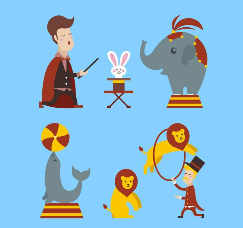 Four Classic Circus Acts Vector