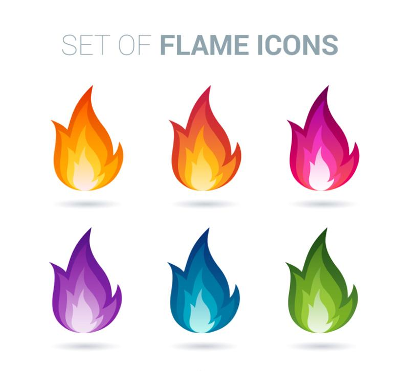 6 Color Flame Designs Vector