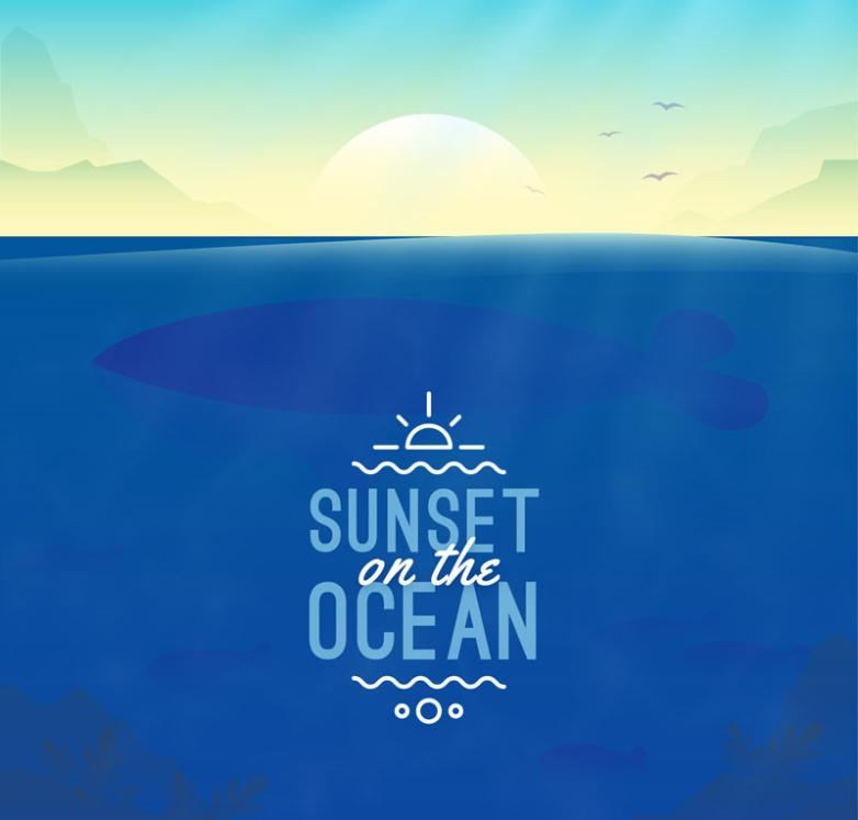 Creative Sea Sunset Illustrations Vector