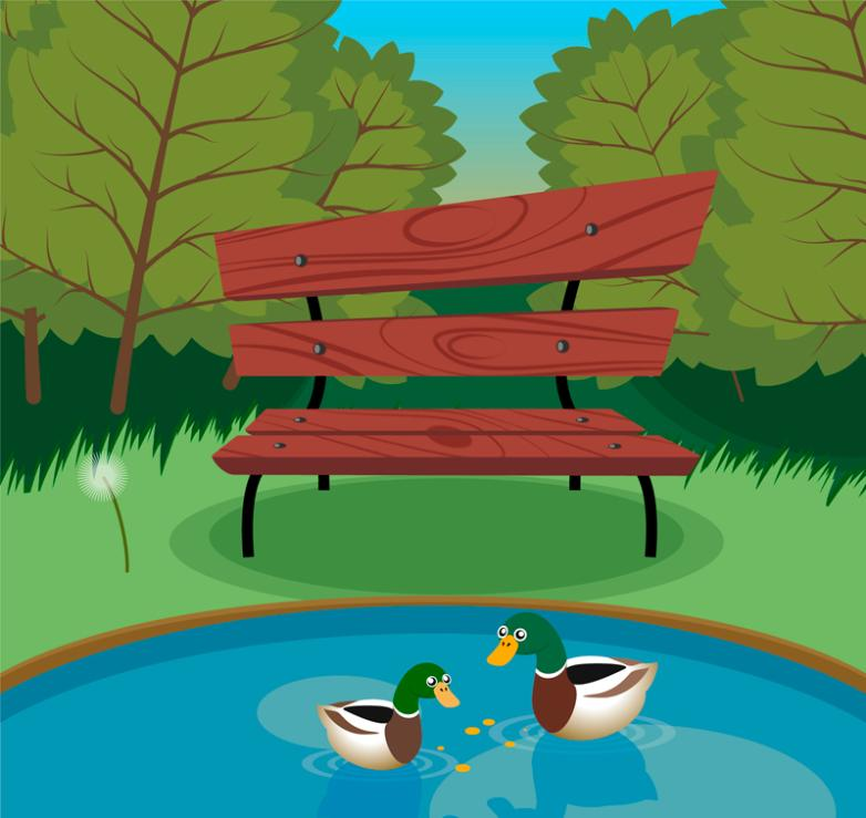 The Pond Scenic Park And Ducks Vector