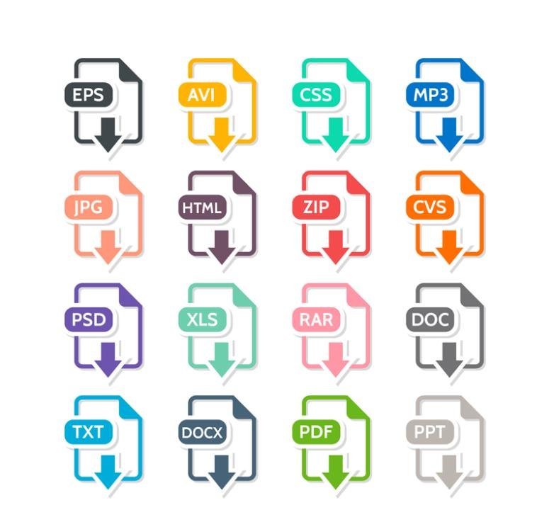 16 Kinds Of Creative Icon File Format Vector