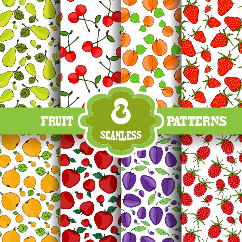 Eight Cartoon Fruit Seamless Background Vector