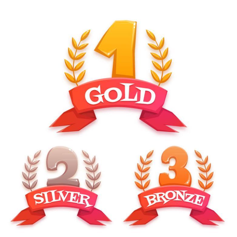 Three Digital Medal Design Vector