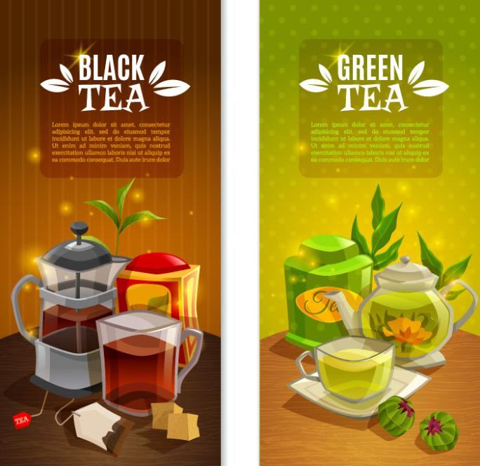 2 Or More Creative Tea Drink Green Tea And Black Tea Banner Vector