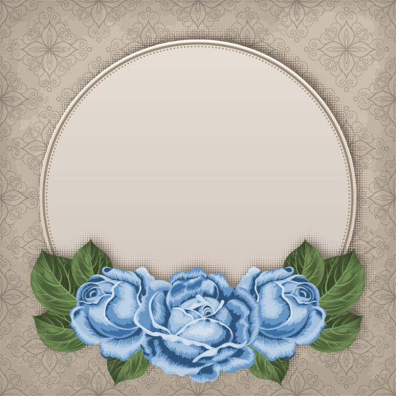 Blue Rose Decoration And Decorative Pattern Background Vector