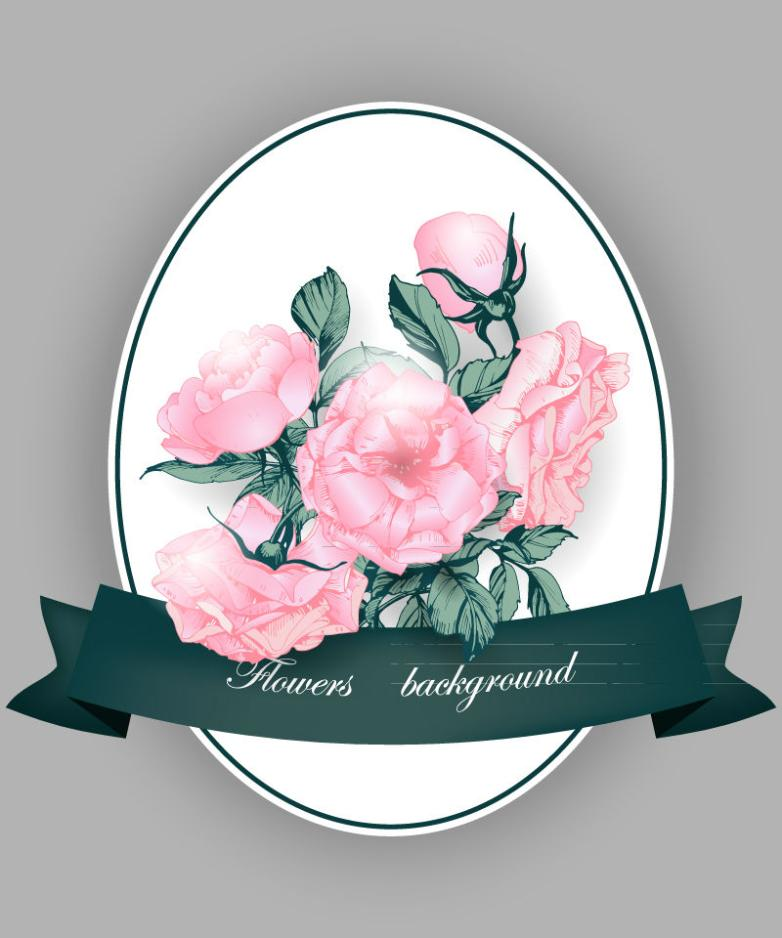 Pink Roses Card And Ribbon Vector