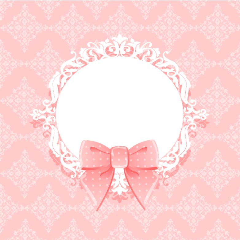 Pink Bowknot Decoration And Decorative Pattern Background Vector
