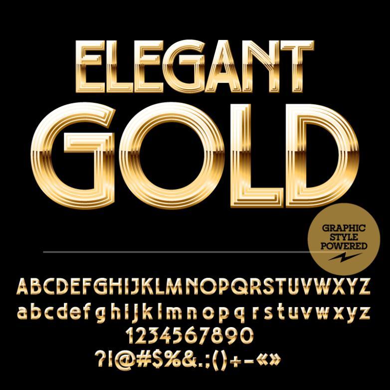77 Golden Letters And Digital Design Vector