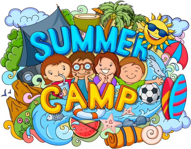 Four Children Summer Camp Graffiti Illustrations Vector