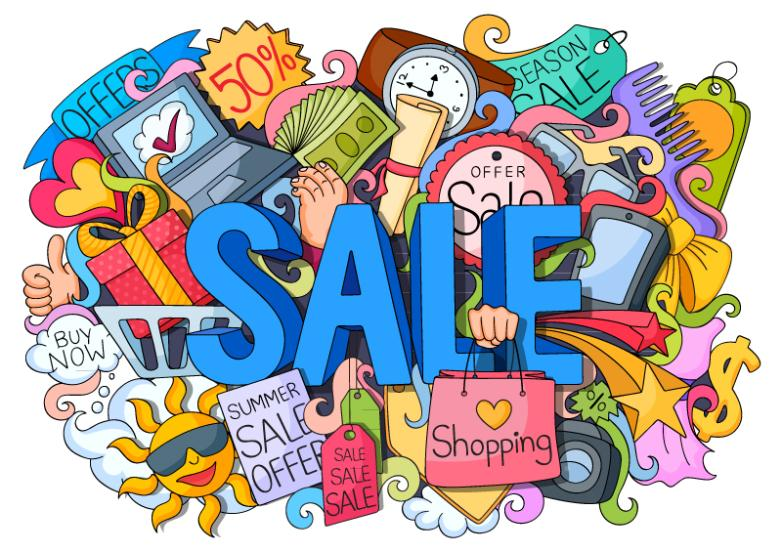 Summer Sale Promotion Graffiti Illustrations Vector