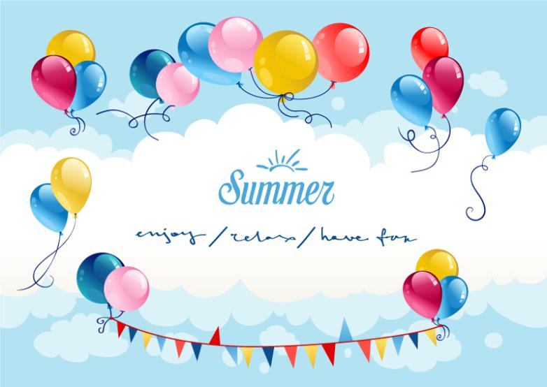 The Balloon Color Summer Sky Vector