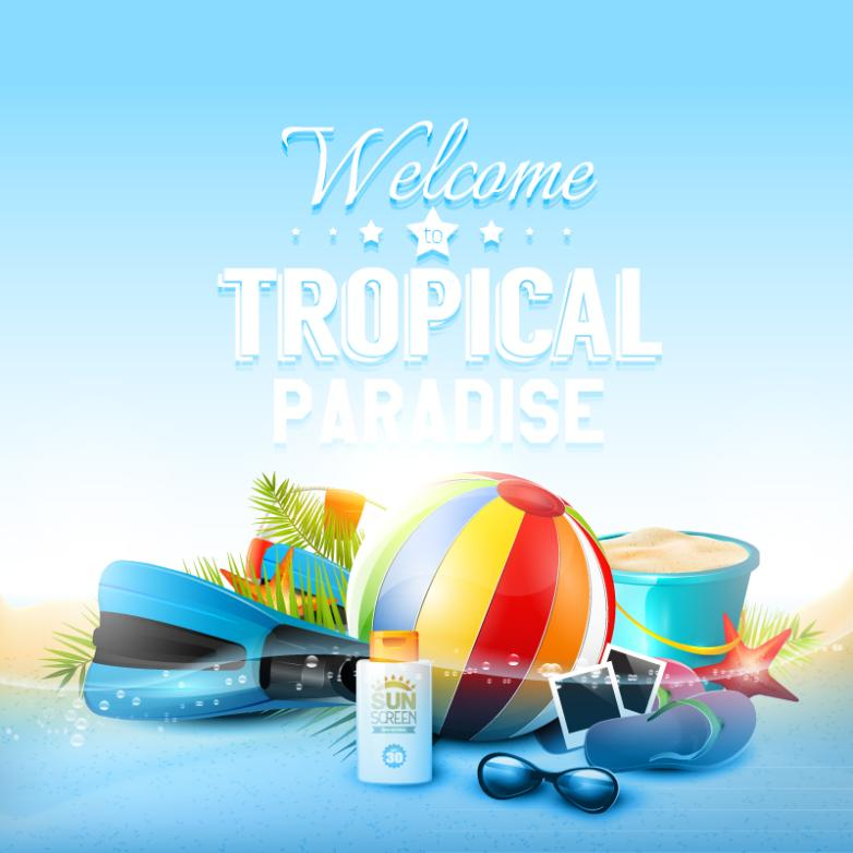 Fashion Tropical Paradise Beach Posters Vector