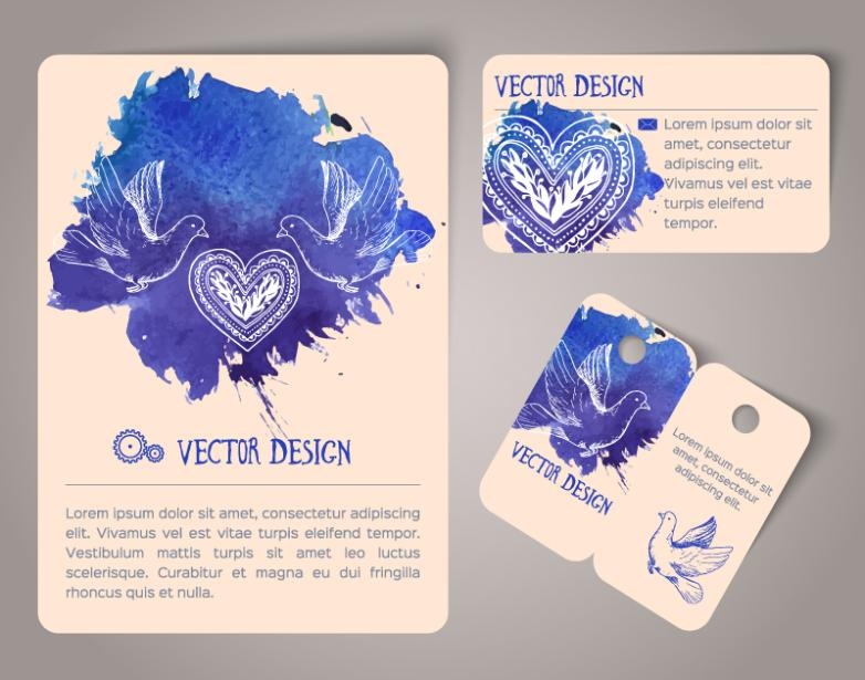 Three Blue Card Watercolor Pigeons Vector