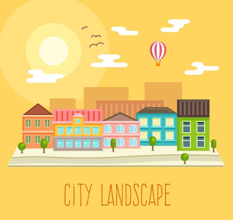 Yellow Scenery Illustrations Creative Cities Vector
