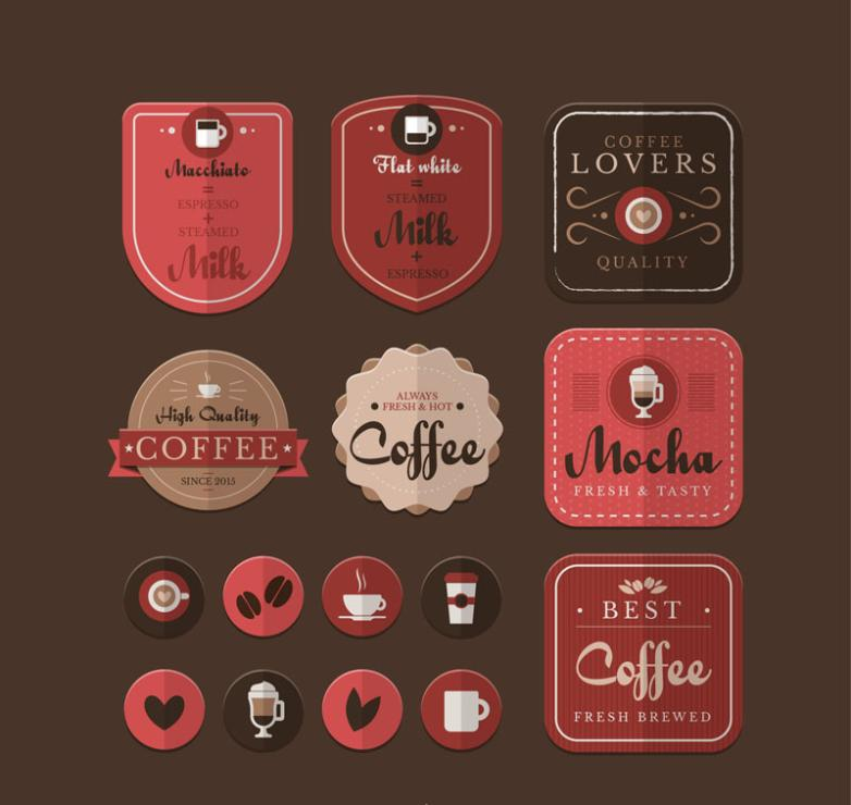 15 Texture Coffee Element Tag Vector