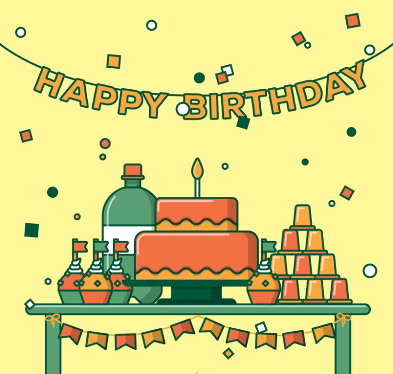 Creative Birthday Food Card Vector