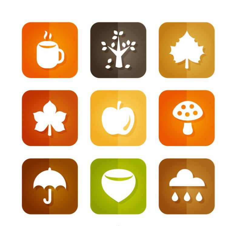Paragraph 9 Square The Autumn Elements Icon Vector