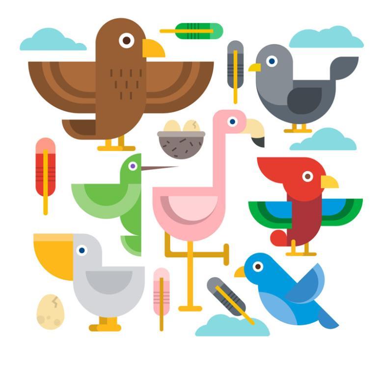 Seven New Flat Design Creative Birds Vector