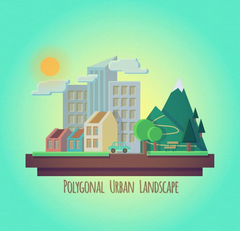 Three-dimensional Paper-cut Style Creative City Scenery Vector