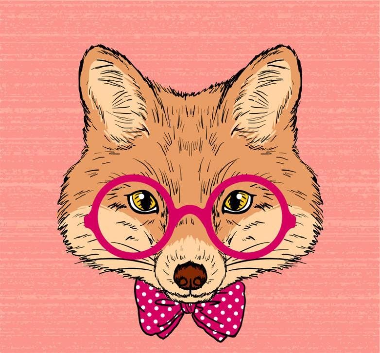 Fashion Fox Head Vector