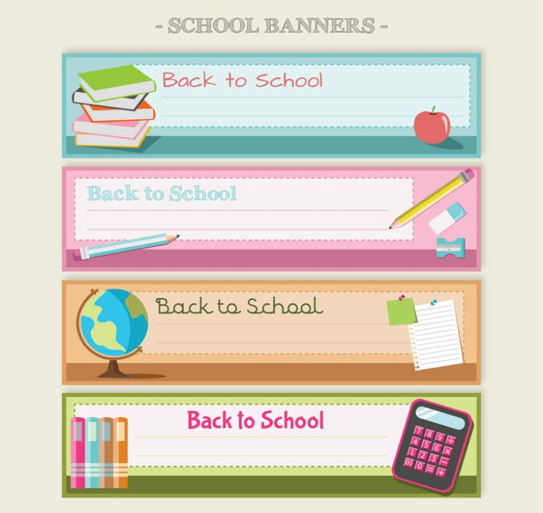 4 Color Back To School Banner Vector