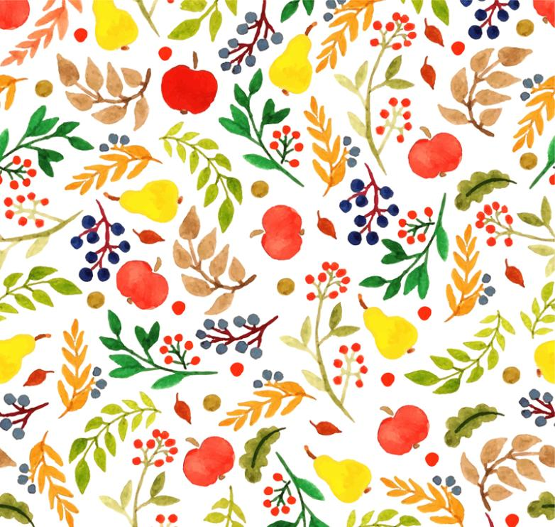 Seamless Background Watercolor Leaves And Fruits Vector