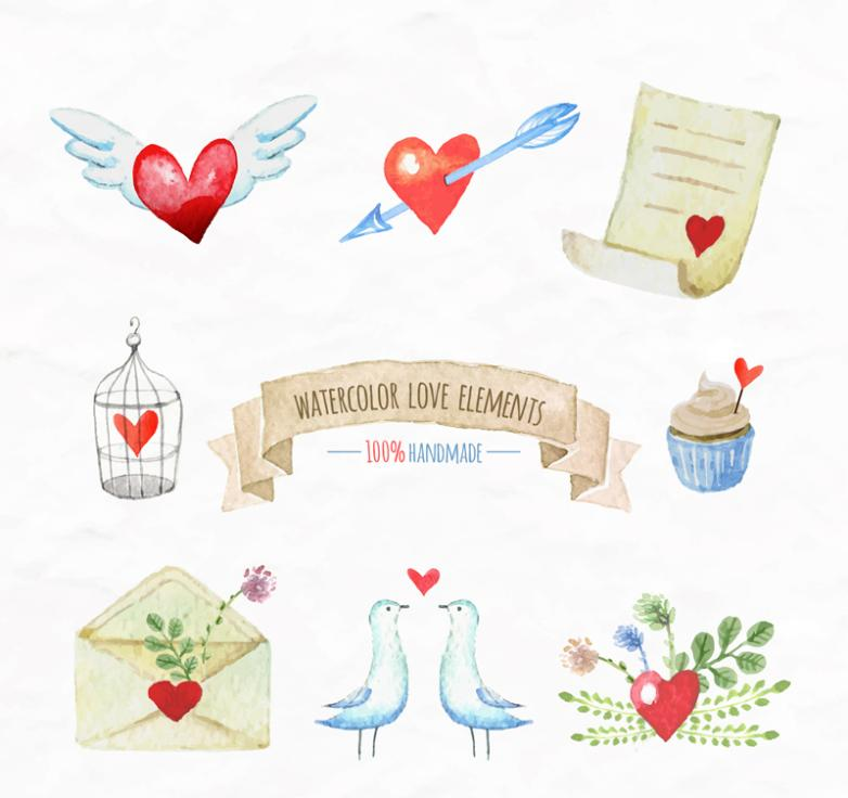 Eight Hand-painted Watercolor Love Elements Vector