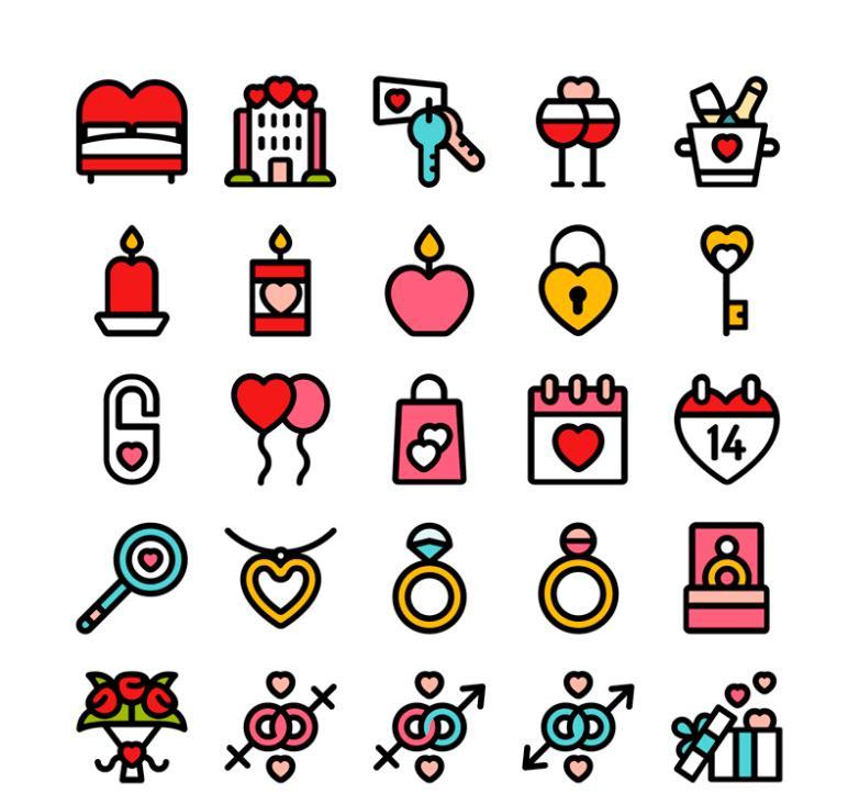25 Elements Icon Valentine's Day Vector