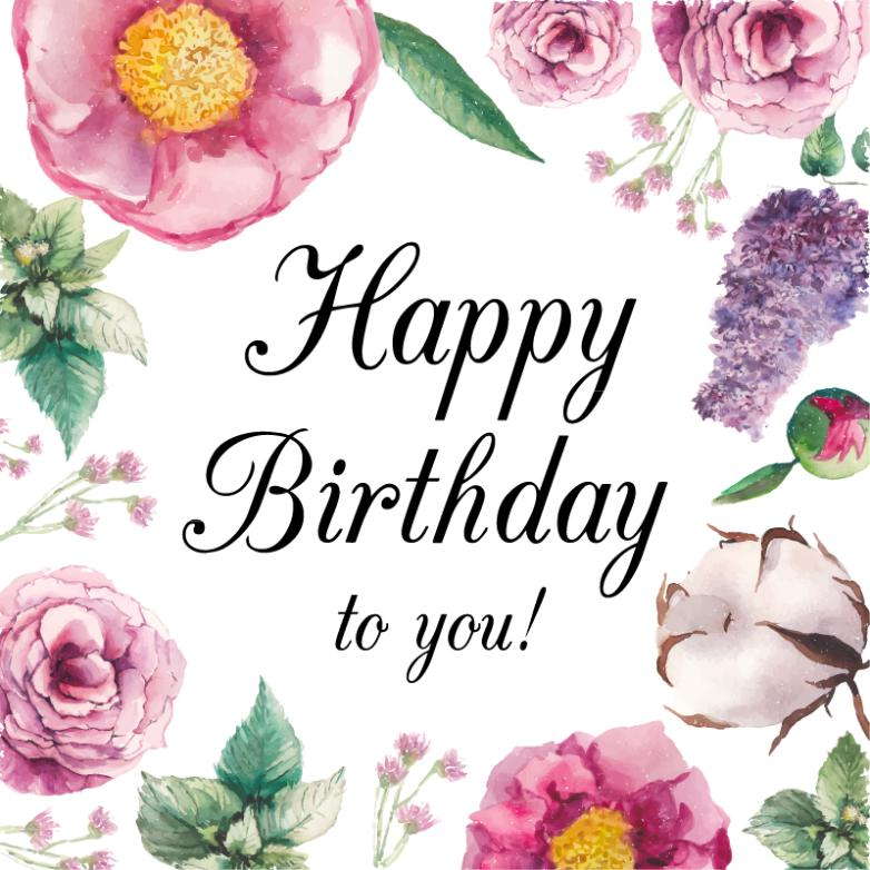 A Variety Of Watercolor Flowers Birthday Cards Vector Free Vector