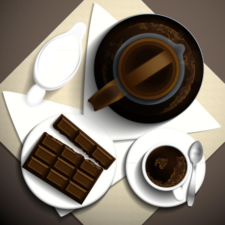 Delicious Coffee And Chocolate Vertical View Vector