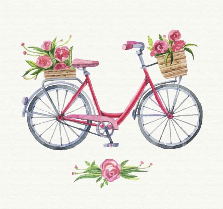 Bike Watercolor Painting Full Of Flowers Vector