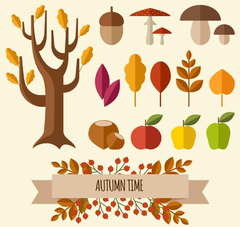 14 Flat Autumn Plants Vector