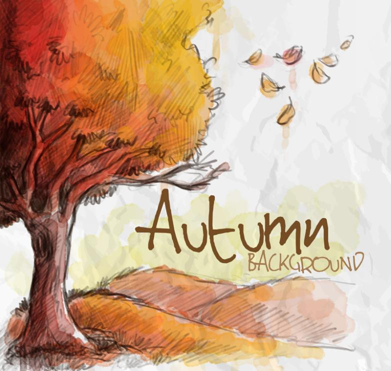 Watercolor Autumn Trees And Leaves Vector
