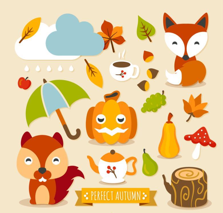 17 Lovely Autumn Elements Vector