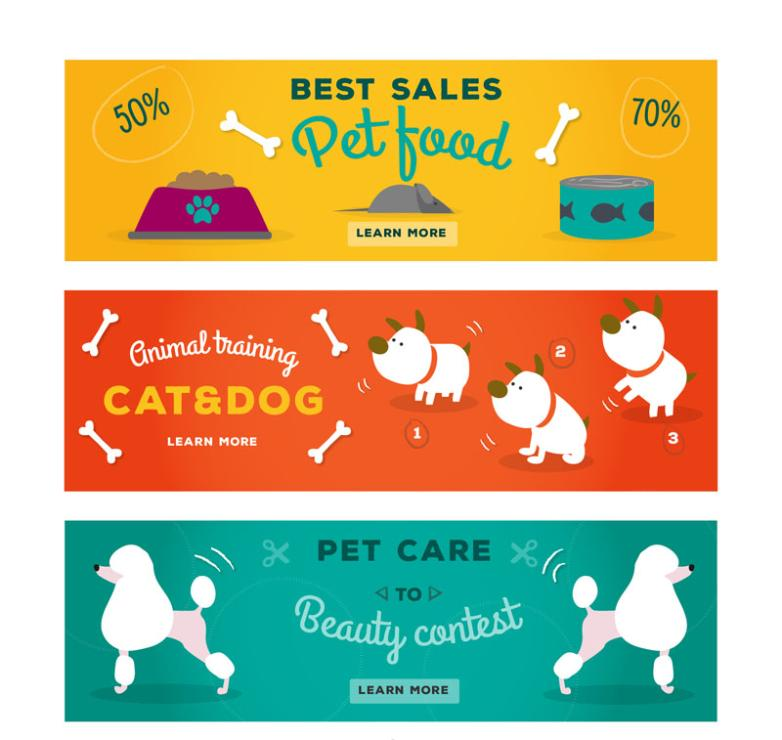 Banner Three Lovely Pet Dog Vector