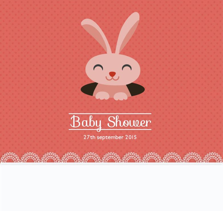 Lovely Rabbit Baby Showers Party Invitation Card Vector