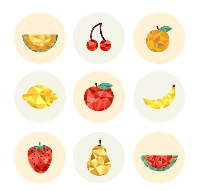 Nine New Creative Fruit Icon Vector