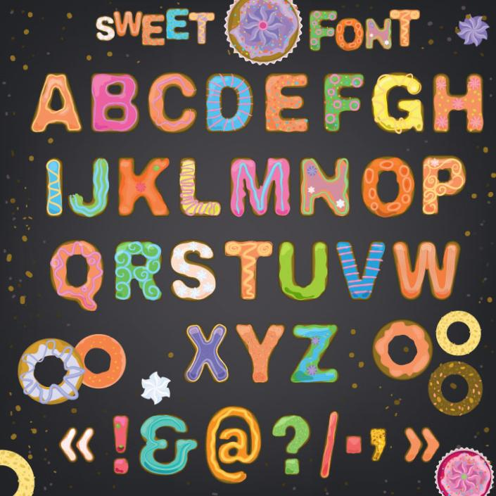26 Biscuits Capital Letters Design Vector