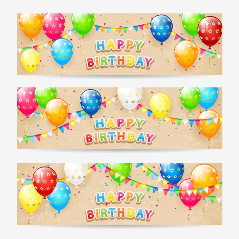 Three Colorful Balloons Birthday Banner Vector